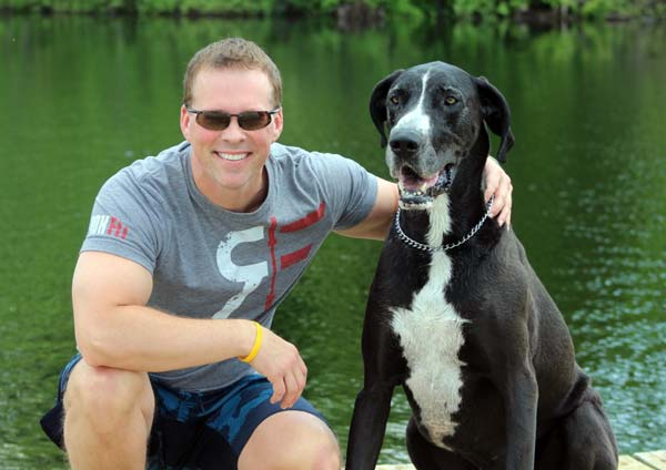 Sophie the Great Dane with her owner James.