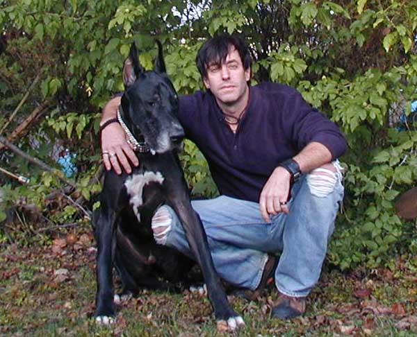 Bruiser black Great Dane with Jeff Z.