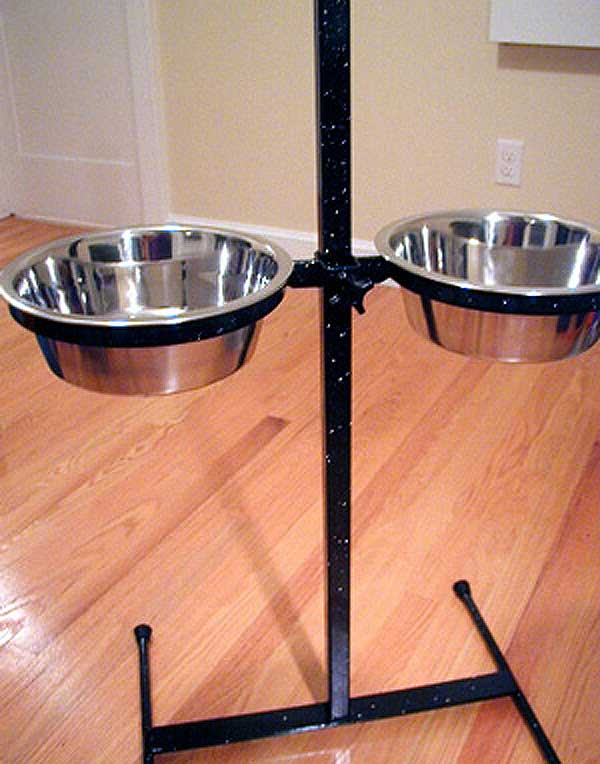 Powder coated dog feeder black with silver glitter clear coat.