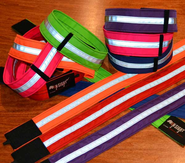 In-Sight™ Reflective dog collar pictured in a variety of colors.
