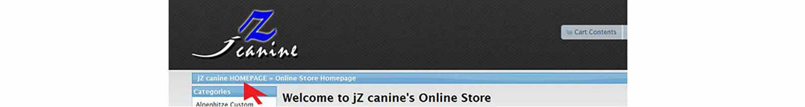 jZ Canine store header screenshot.